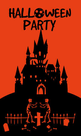 Halloween holiday Night Party greeting card dark castle rising deads party cemetery. Template banner Ilustração
