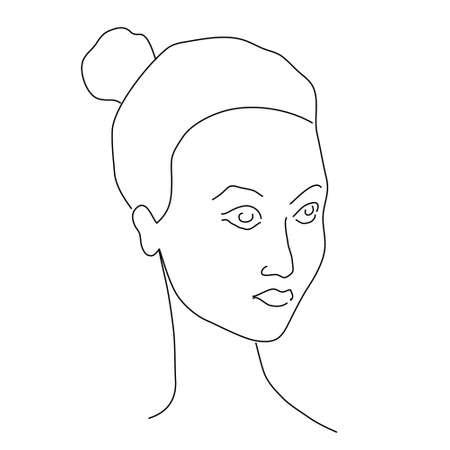 Woman face portrait line abstract. Modern minimal art contour style. Editable single line