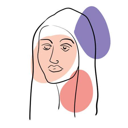 Woman abstract face portrait line shapes pastel colors. Minimalistic style