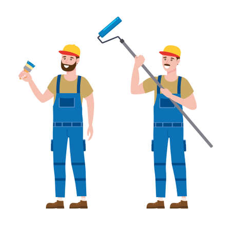 Set Construction workers painter with brush and roller brush in workwear. Craftsman character vector isolated