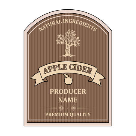 label for Apple Cider template retro vector isolated
