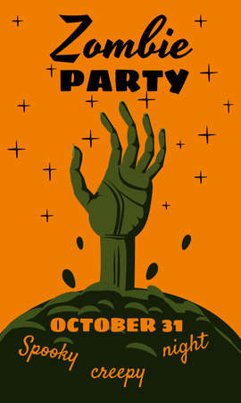 Halloween holiday Zombie Party greeting card rising hand dead cemetery