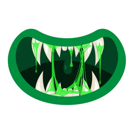 Monster mouth creepy and scary. Funny jaws teeths creatures expression monster horror saliva slime. Vector isolated illustration cartoon style Ilustração