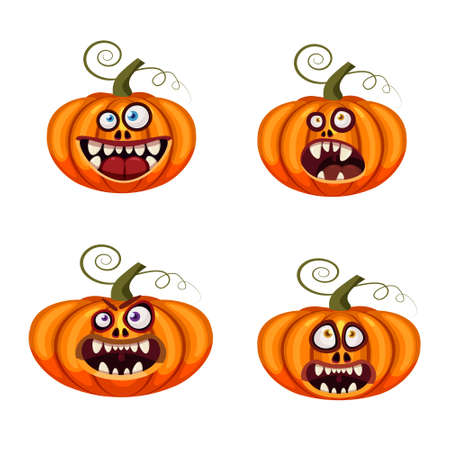 Set Pumpkins Halloween funny faces open mouths creepy and scary funny jaws teeths creatures expression monsters characters. Vector isolated cartoon style Ilustração