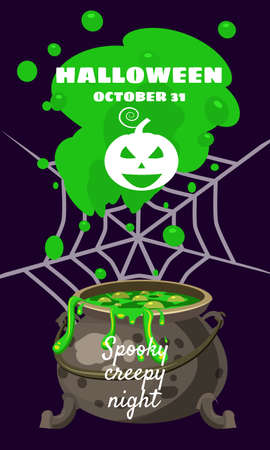 Halloween holiday greeting card. Witch cauldron spider web. Template banner Ilustração