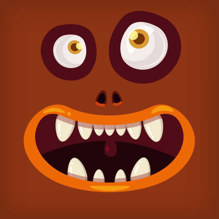 Horror Monster open mouth creepy and scary. Funny jaws teeths creatures expression monster characters. Vector isolated illustration cartoon style
