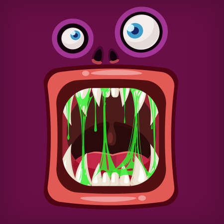 Horror Monster open mouth creepy and scary. Funny jaws teeths drool slime creatures expression monster characters. Vector isolated illustration cartoon style