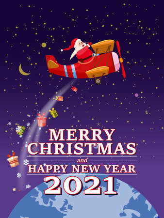 Santa Claus Van with text Merry Chrismas and Happy New Year 2021 flying in plane retro delivering shipping gifts
