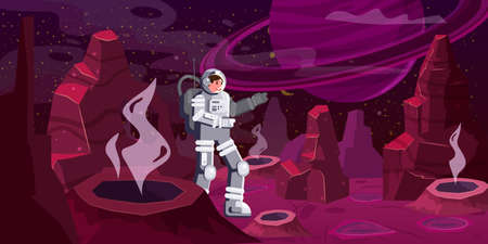 Astronaut exploring alien planet. Cosmonaut scientific traveler character on a rocky surface in far galaxy. Cartoon flat style vector illustration banner