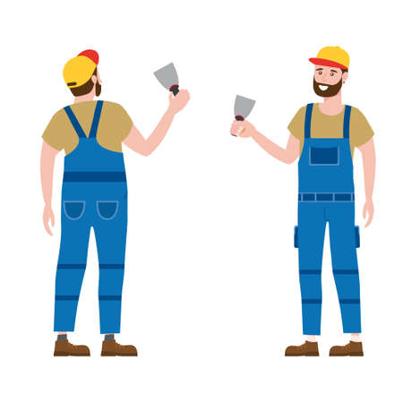 Construction worker with plastering trowel tool in workwear. Back and front view craftsman character vector isolated