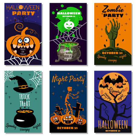 Set Halloween holiday greeting card merry pumpkin, spider web, deads, witch, cemetery Vetores