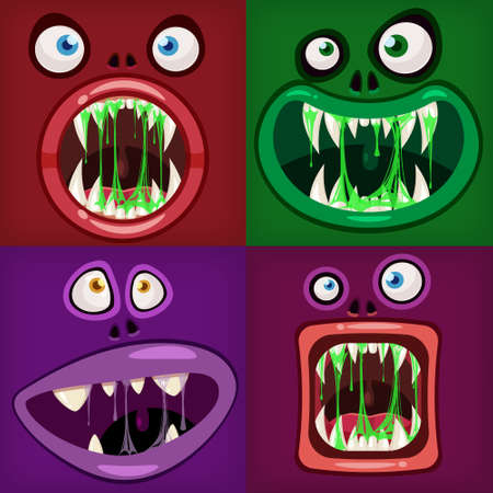 Set Monsters mouths creepy and scary. Funny jaws teeths tongue creatures expression monster horror drool slime. Vector isolated illustration cartoon style