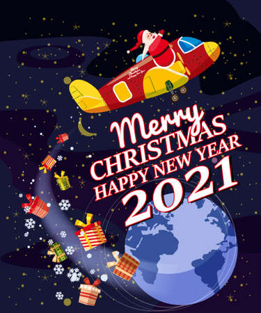 Santa Claus Van with text Merry Christmas and Happy New Year 2021 flying in plane delivering shipping gifts