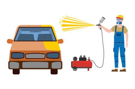 Car airbrush painter in workwear service auto body car repair. Craftsman repairman with spraying gun workshop. Vector illustration isolated
