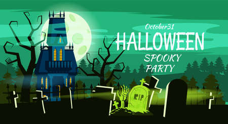 Happy Halloween Lonely scary abandoned mansion cemetery graves. Vector isolated cartoon style Illustration