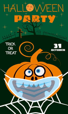 Halloween Pumpkin wearing medical face mask from coronavirus during quarantine, on spider web cemetery autumn holiday All Saints Day. Poster greeting card. Vector illustration isolated