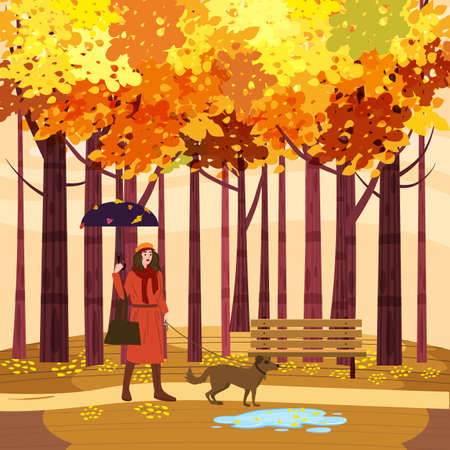 Autumn Park Young woman walks with dog, yellow orange red foliage trees, walkway bench. Fall mood outdoor cityscape. Vector isolated illustration isolated Illustration
