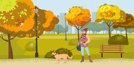 Autumn Park woman walks with dog, yellow orange red foliage trees, walkway bench. Fall mood outdoor cityscape. Vector isolated illustration isolated
