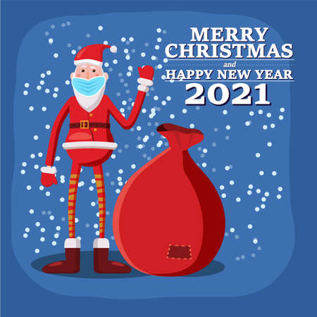 Santa Claus in medical mask covid protection. Social distancing on Merry Christmas holiday, corona virus protection. Vector illustration isolated