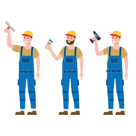 Set Construction workers with cordless screwdriver, brush, plastering trowel tools in workwear. Craftsman character vector isolated