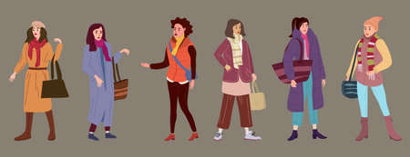 Set Young womans in trendy autumn clothes street fashionable style outwear female. Trendy vector style isolated