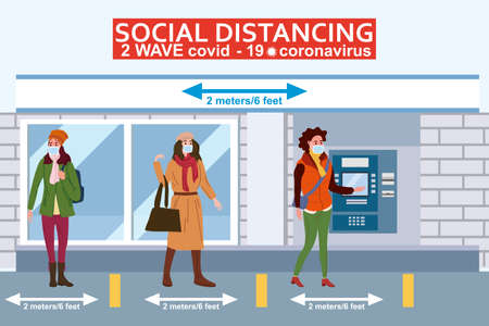 Social distancing and from COVID-19 coronavirus pandemic Queue at the ATM. Maintain a safe distance 2 meters from others. Characters in line at the bank. Vector isolated illustration