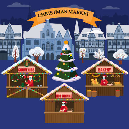 Christmas Market holiday fairs or festive on city square. In conditions of the COVID 2019 pandemic sellers in medical masks, Social distancing. Canopy, stalls, kiosks. Background silhouette old town, Xmas tree. Vector illustration Illustration