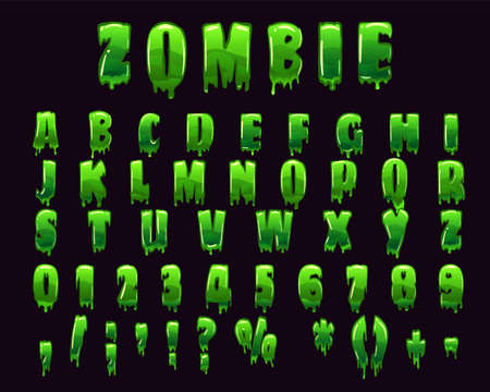 Zombie Font Alphabet green slime styled Halloween scary effect, letters and numbers. Vector isolated illustration Illustration