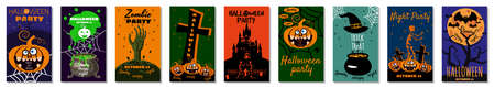 Set Halloween holiday greeting card merry pumpkin, spider web, deads, witch, cemetery