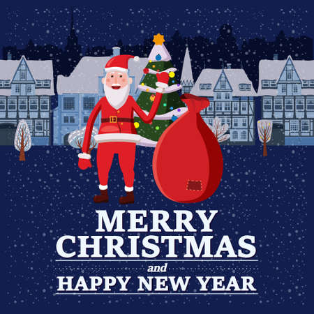 Merry Christmas and Happy New Year holiday Santa Claus carrying sack full of gifts, background night city. Vector illustration isolated