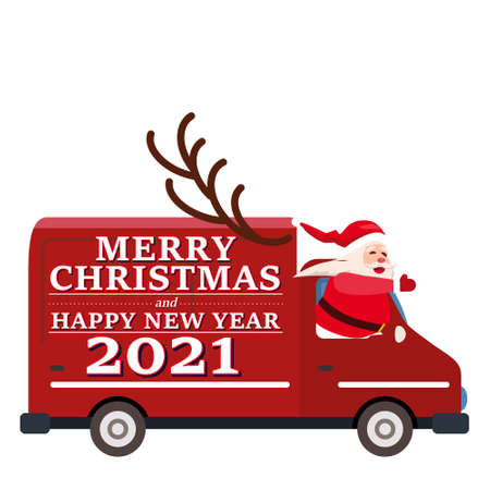 Santa Claus Van with text Merry Christmas and Happy New Year 2021 delivering shipping gifts. Flat cartoon style vector illustration