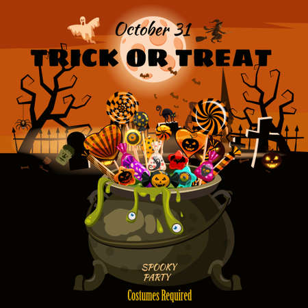 Hello Halloween Cauldron full of Candies and sweets. Autumn october holiday dark cemetery tradition celebration banner poster template party. Vector illustration isolated