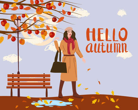 Young woman in the autumn park city, trendy clothes street fashionable style outwear female, fall mood. Lettering Hello Autumn. Trendy vector style isolated Illustration