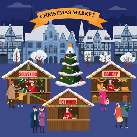 Christmas Market holiday fairs or festive on city square. In conditions of the COVID 2019 pandemic sellers in medical masks, Social distancing. People walk and buy between canopy, stalls, kiosks. Background silhouette old town, Xmas tree. Vector