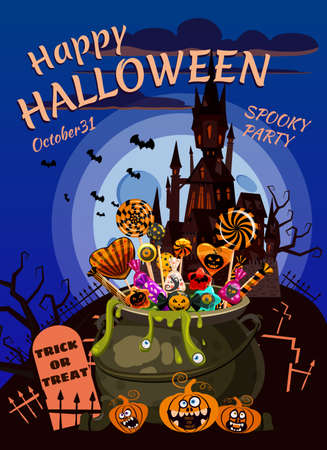 Hello Halloween Cauldron full of Candies and sweets. Autumn october holiday dark mansion cemetery tradition celebration banner poster template party. Vector illustration isolated