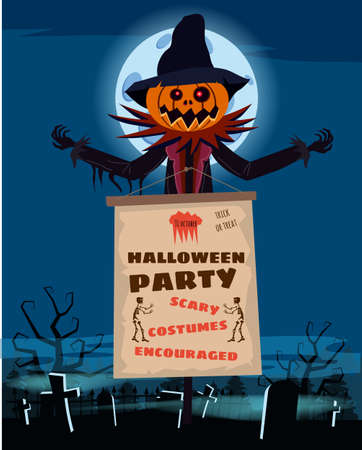Scarecrow character at the cemetery with a Jack O Lantern head pumpkin in ripped coat with Happy Halloween poster. Isolated on white background cartoon style