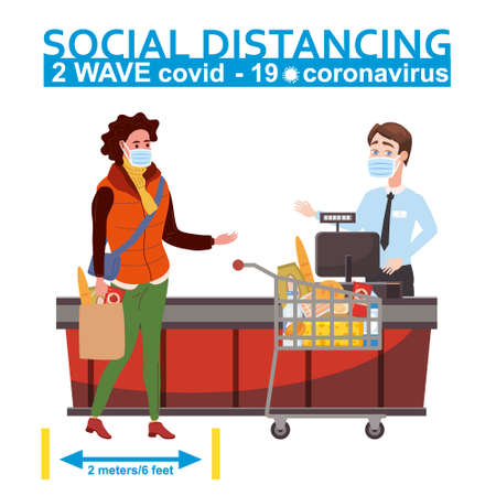 Supermarket social distancing store counter cashier and buyer in medical masks, with cart and basket of food. Quarantine coronavirus 2019-nCoV 2 wave in the store epidemic precautions. Cartoon style vector illustration