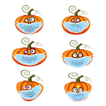 Set Halloween Pumpkin wearing medical face mask from coronavirus during quarantine, symbol autumn holiday All Saints Day. Vector illustration isolated