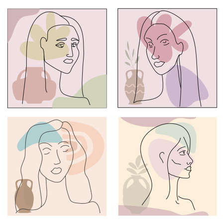 Set Womans line portrate in modern minimalist style trendy. Abstract shape pastel warm colors,flowers, vase. Editable outline