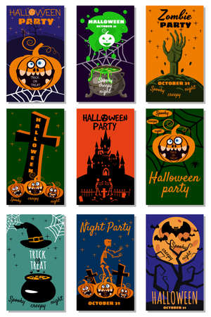 Set Halloween holiday greeting card merry pumpkin, spider, web, deads, witch, cemetery. Template banner, flyer, poster Illustration