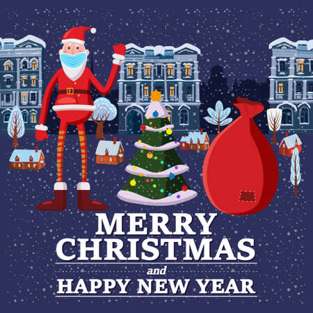 Santa Claus in medical mask covid protection. Social distancing on Merry Christmas holiday, corona virus protection, background city night. Vector illustration isolated