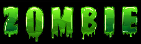 Zombie text   design green slime styled Halloween scary effect letters. Vector isolated illustration