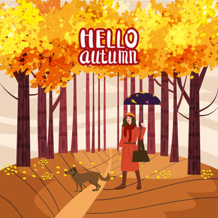 Hello Autumn lettering Park Young woman walks with dog, yellow orange red foliage trees, walkway bench. Fall mood outdoor cityscape. Vector isolated illustration isolated
