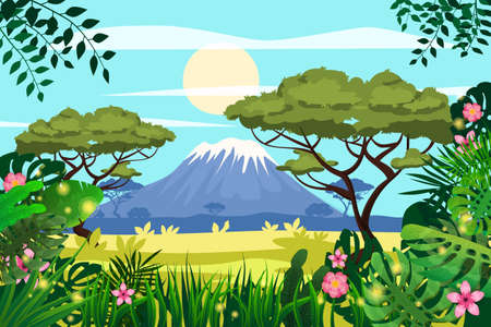 African savannah landscape, mountains, rainforest jungle scenery silhouette. Bright flora with ferns and flowers. Vector illustration isolated cartoon style