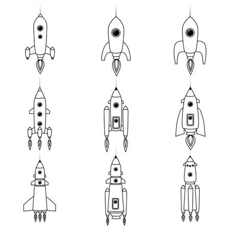 Set rocket space ship retro icon line. Vector illustration isolated