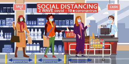 Supermarket social distancing store counter cashier and buyers in medical masks, with cart and basket of food. Quarantine coronavirus 2019-nCoV 2 wave in the store epidemic precautions. Cartoon style vector illustration