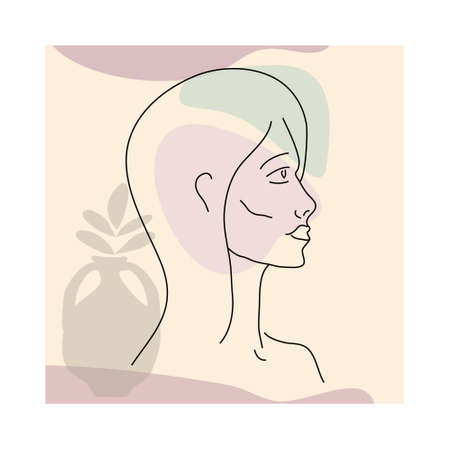 Woman line portrate in modern minimalist style trendy. Abstract shape pastel warm colors,flowers, vase. Editable outline