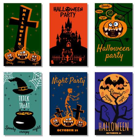 Set Halloween holiday greeting card merry pumpkin, spider web, bats, cauldron, deads, witch, cemetery.
