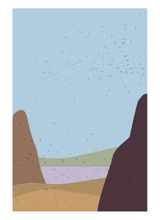Landscape Abstract Modern Contemporary background. Mountains, hills, waves shapes. Vector illustration trendy art flat minimalist style template banner poster decor