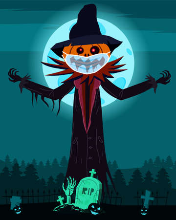 Scarecrow character at the cemetery in medical face mask from coronavirus during quarantine with a Jack O Lantern head pumpkin in ripped coat with Happy Halloween poster. Isolated vector